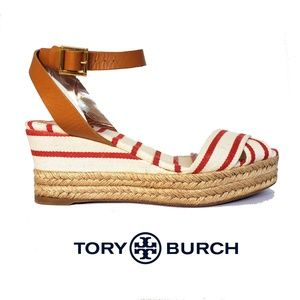0bcf04886 Tory Burch Shoes - Tory Burch Karissa Red   white Wedge Sandals